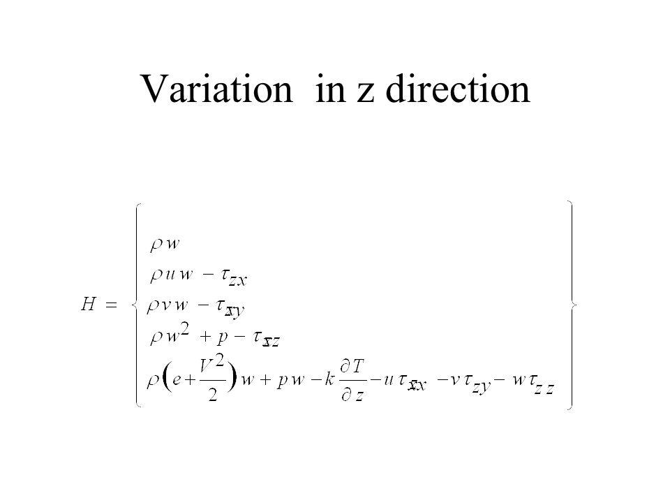 Variation in z direction
