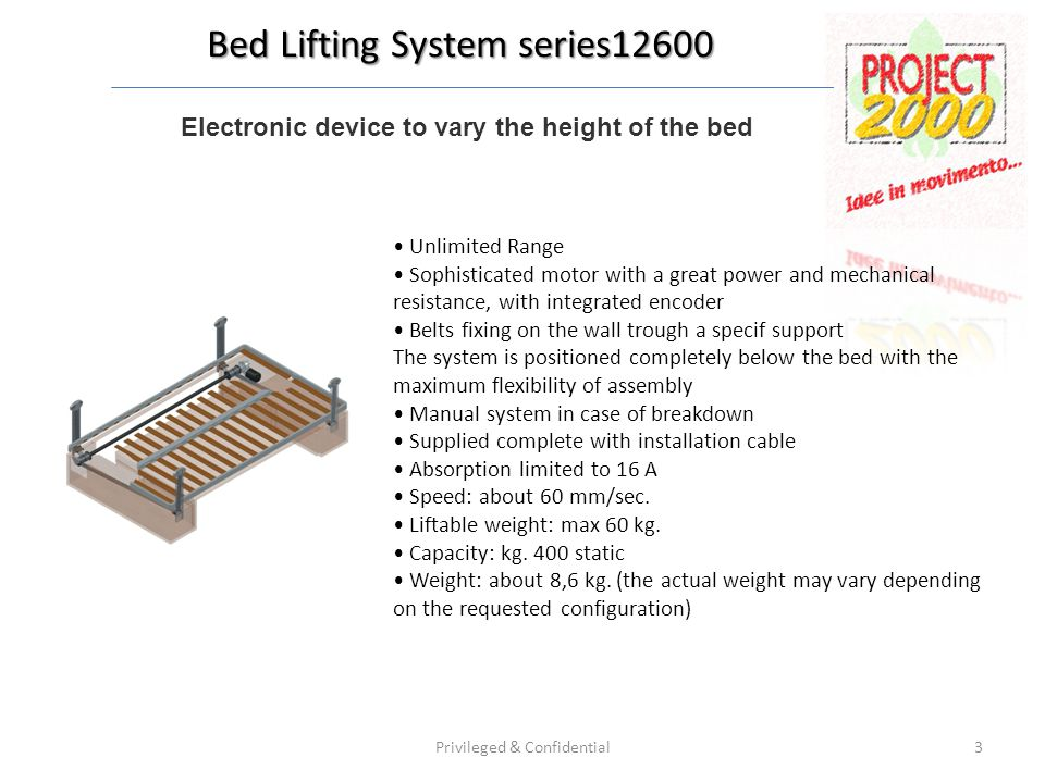Electronic device to vary the height of the bed