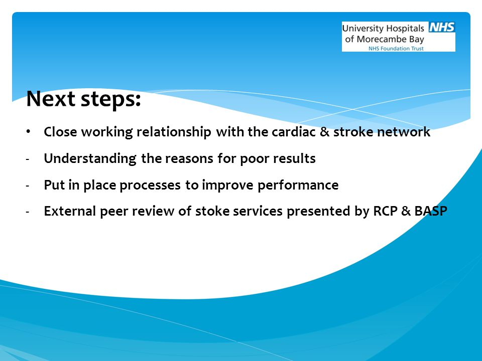 Next steps: Close working relationship with the cardiac & stroke network. Understanding the reasons for poor results.