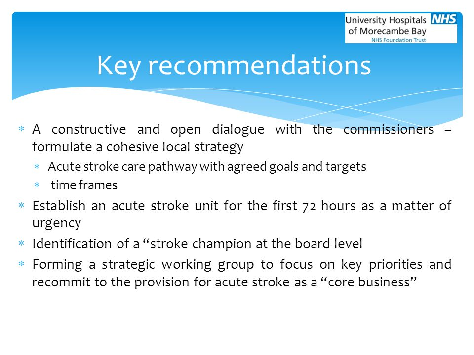 Key recommendations A constructive and open dialogue with the commissioners –formulate a cohesive local strategy.