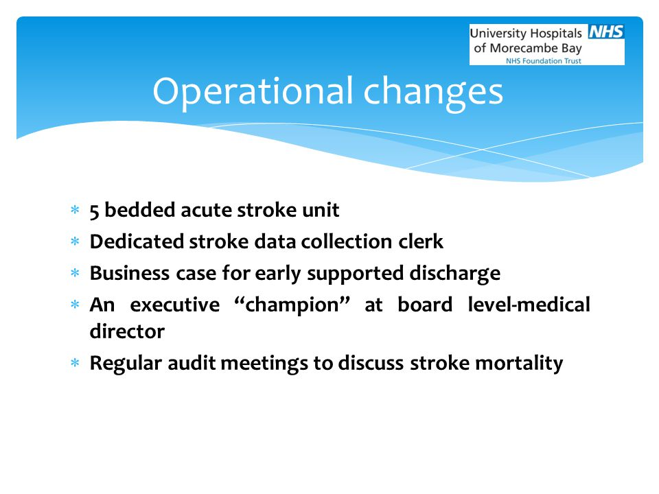 Operational changes 5 bedded acute stroke unit