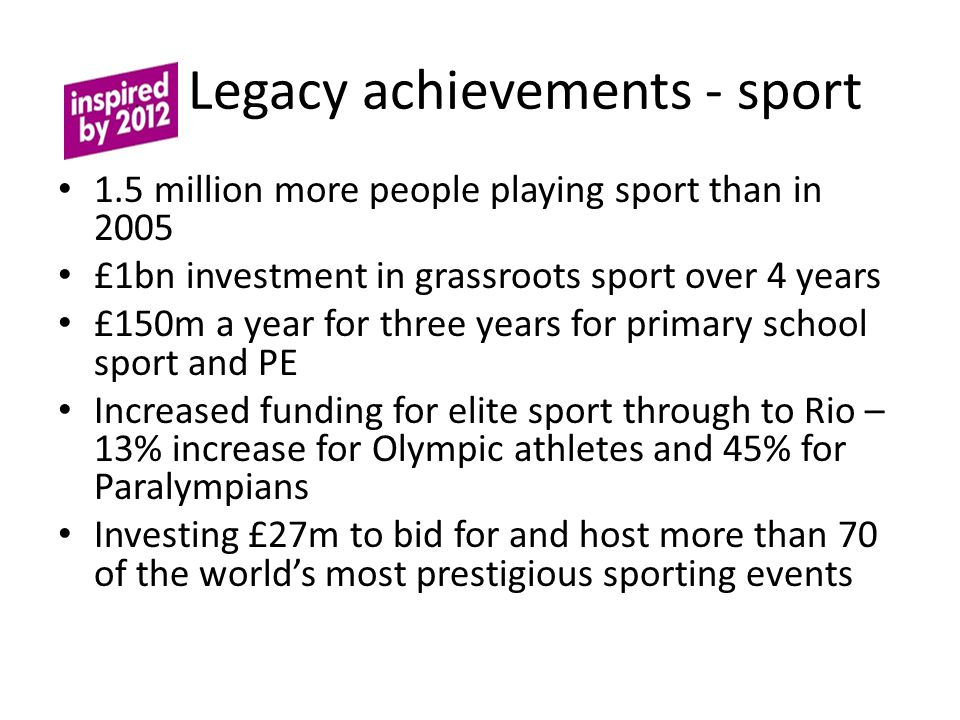 L Legacy achievements - sport