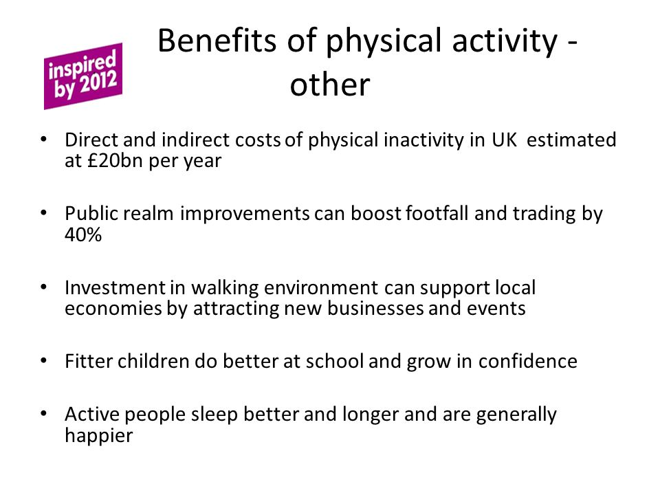 Benefits of physical activity - other
