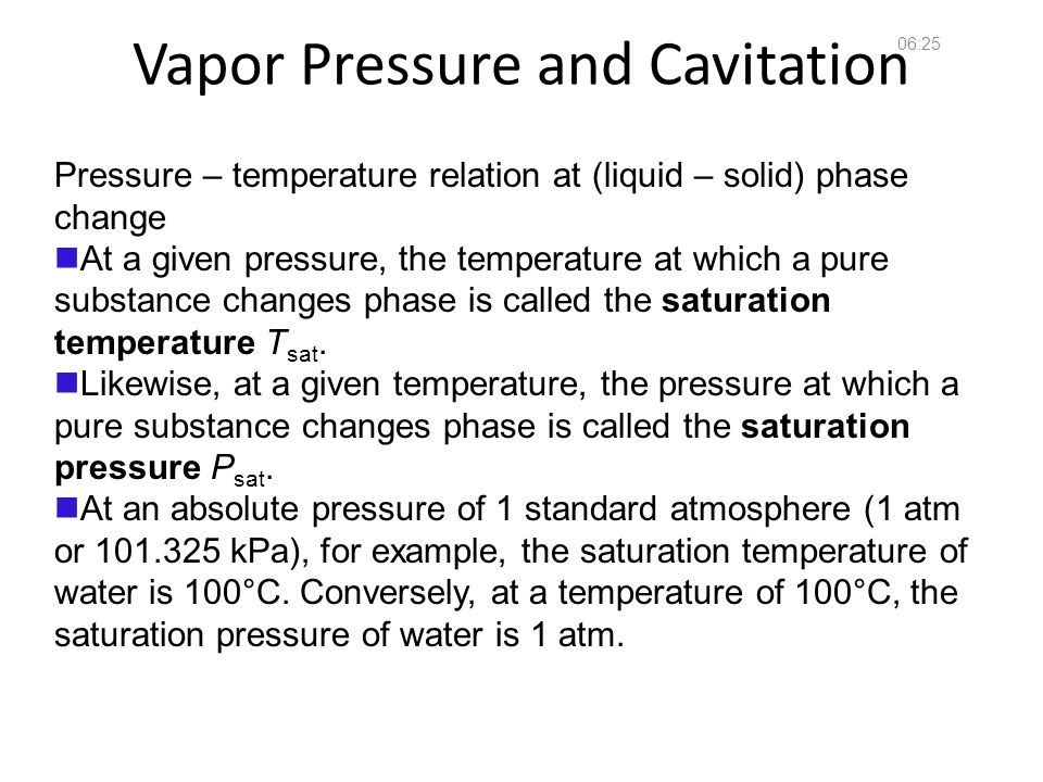 Vapor Pressure and Cavitation