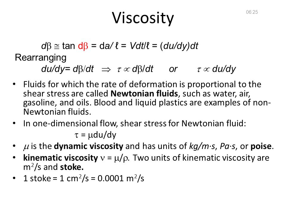 Viscosity db  tan db = da/ ℓ = Vdt/ℓ = (du/dy)dt Rearranging