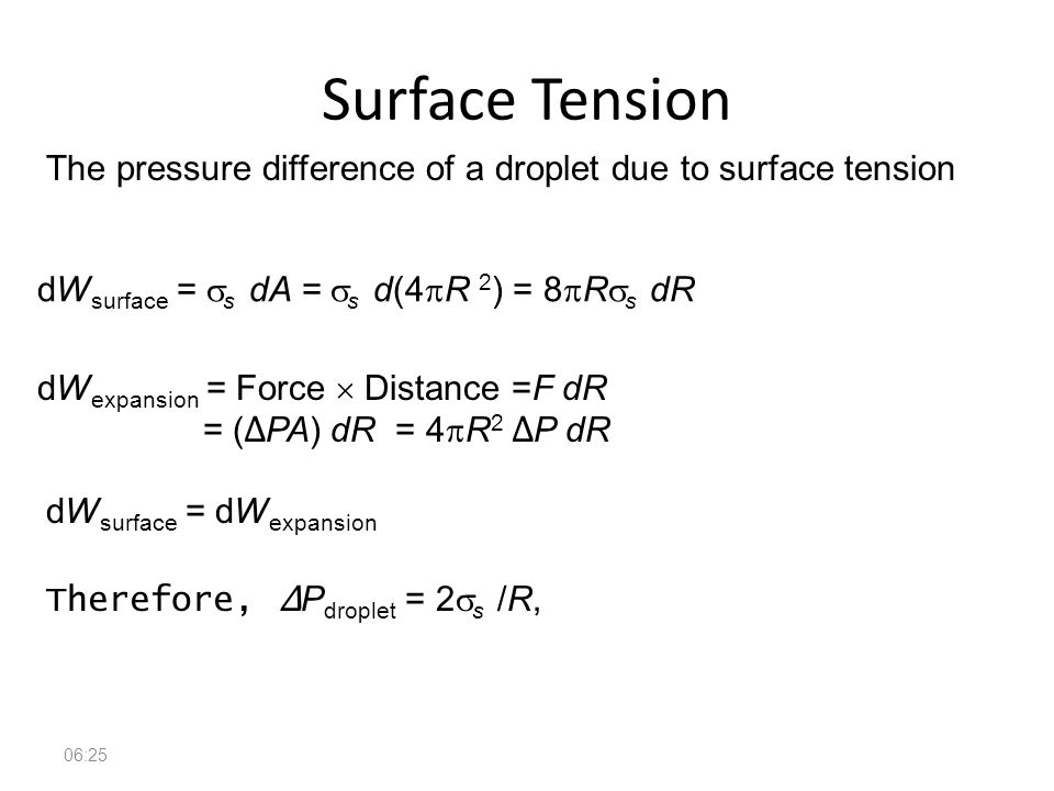 Surface Tension The pressure difference of a droplet due to surface tension. dWsurface = ss dA = ss d(4pR 2) = 8pRss dR.