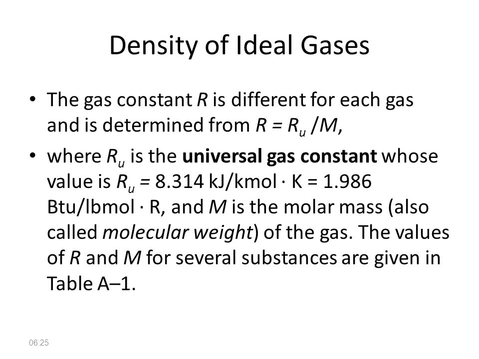 Density of Ideal Gases The gas constant R is different for each gas and is determined from R = Ru /M,