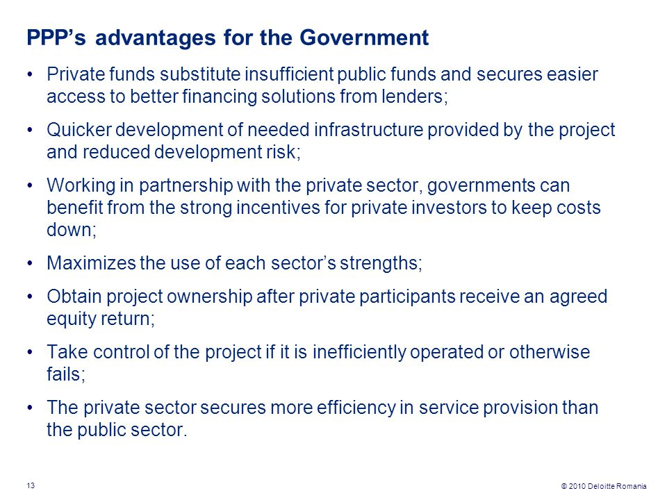 PPP's advantages for the Government
