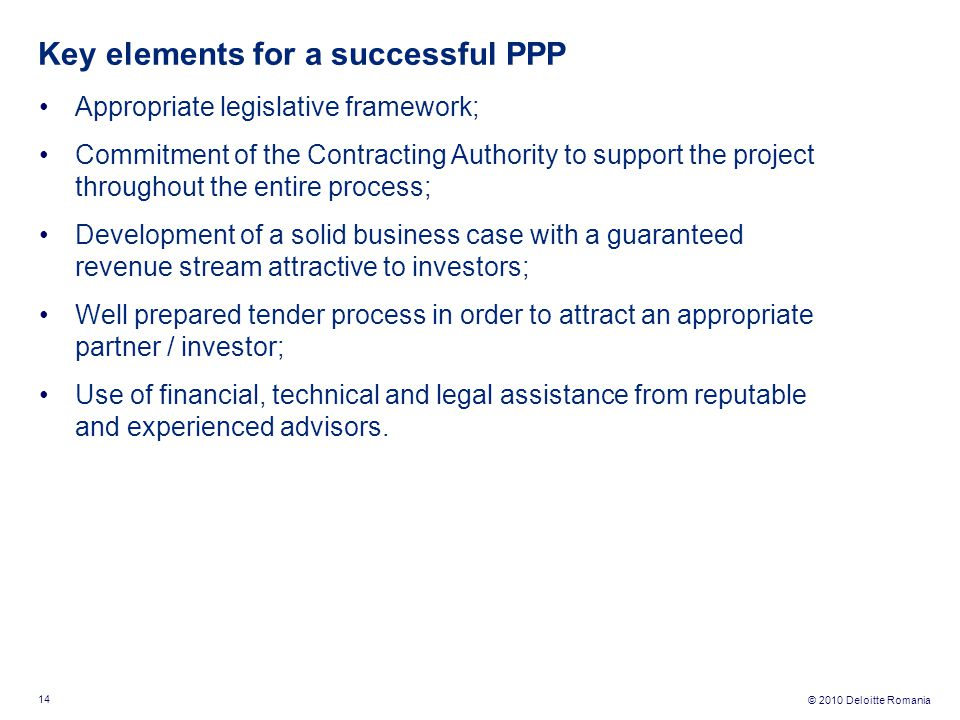 Key elements for a successful PPP