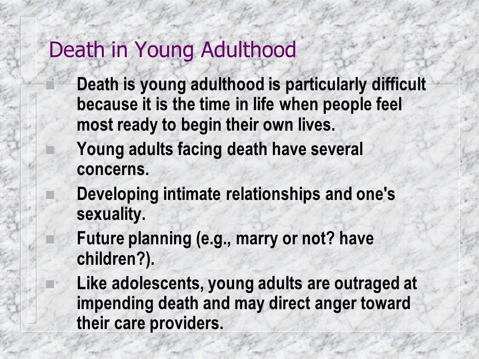 Death in Young Adulthood