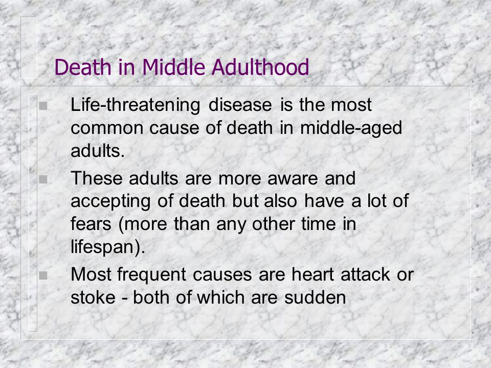 Death in Middle Adulthood