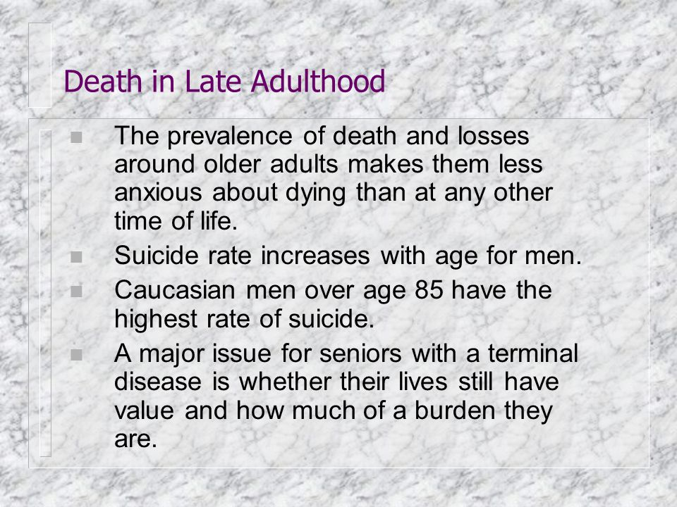 Death in Late Adulthood