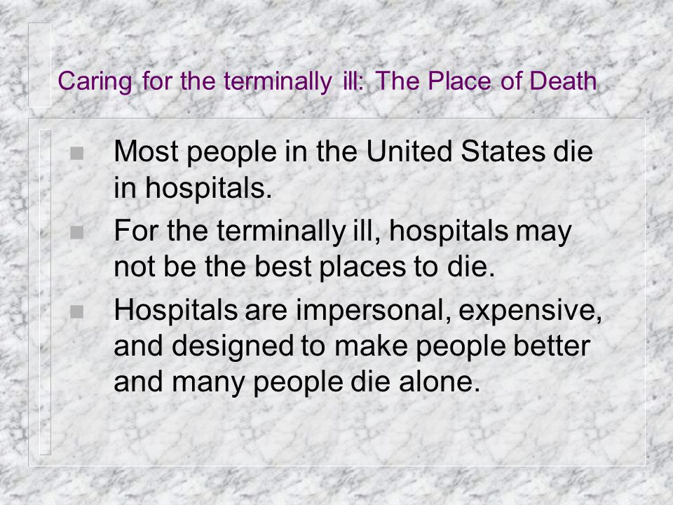 Caring for the terminally ill: The Place of Death