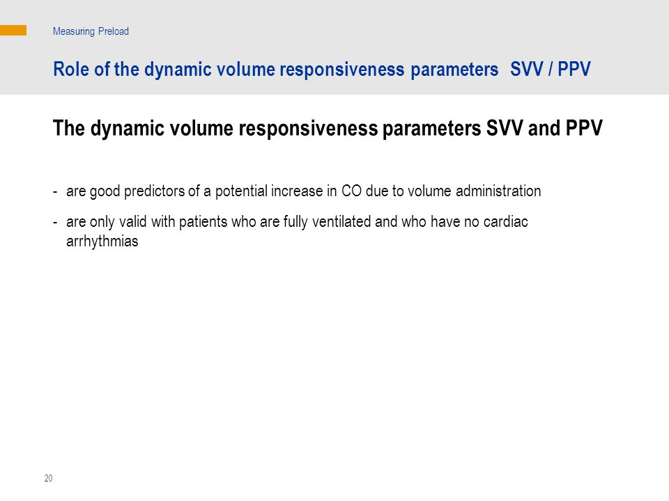 The dynamic volume responsiveness parameters SVV and PPV