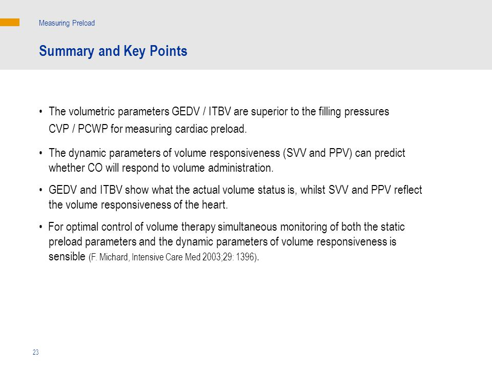 Measuring Preload Summary and Key Points.