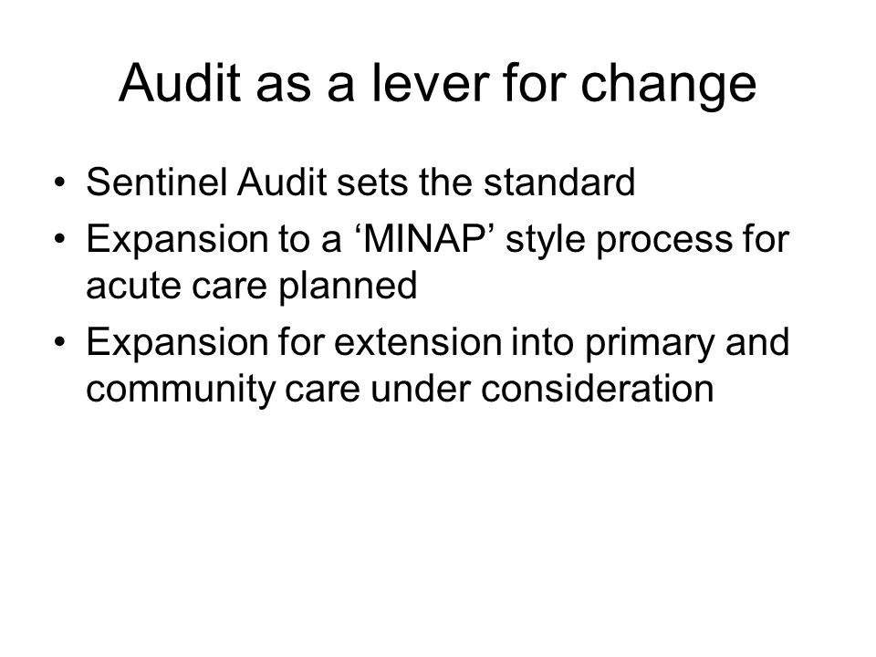 Audit as a lever for change