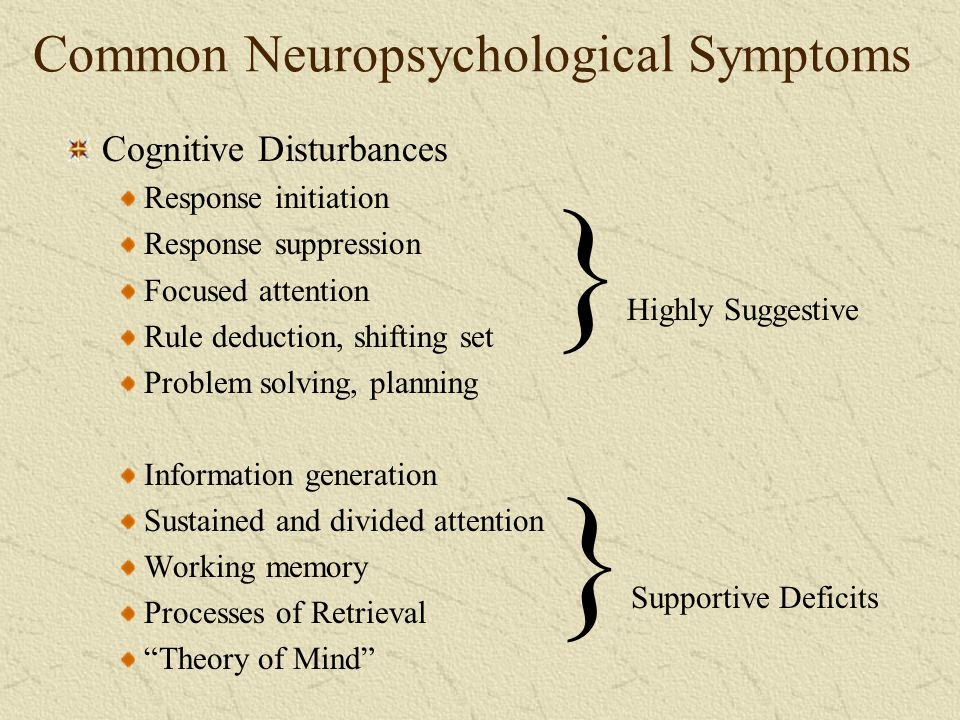 Common Neuropsychological Symptoms
