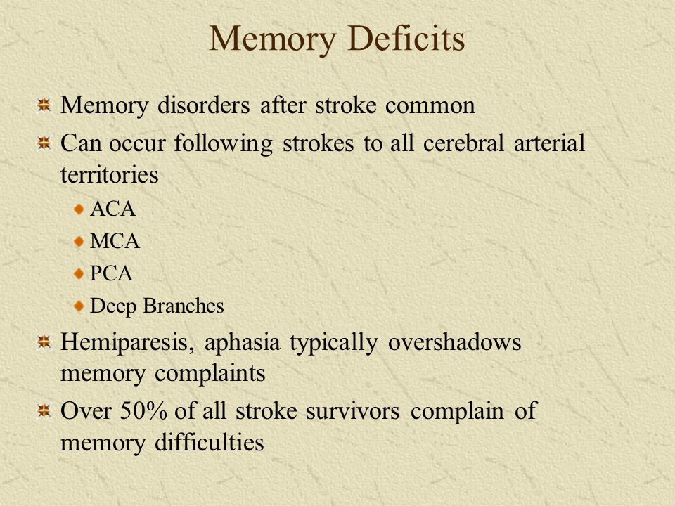 Memory Deficits Memory disorders after stroke common
