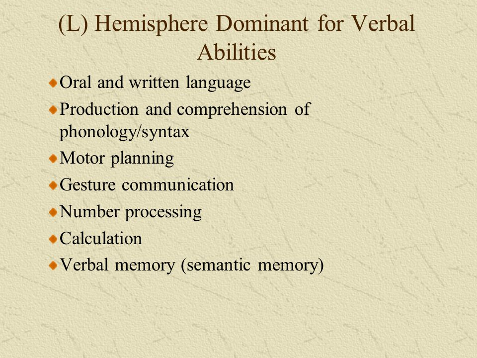 (L) Hemisphere Dominant for Verbal Abilities