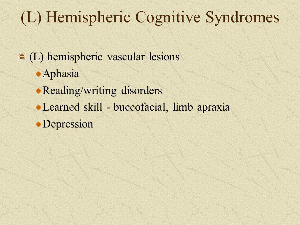 (L) Hemispheric Cognitive Syndromes