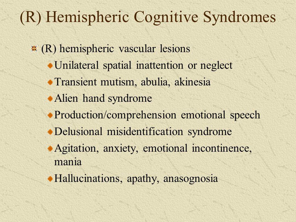(R) Hemispheric Cognitive Syndromes