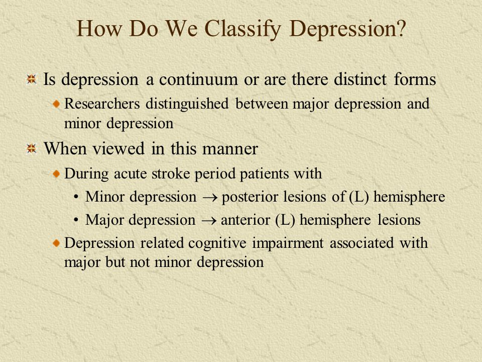 How Do We Classify Depression