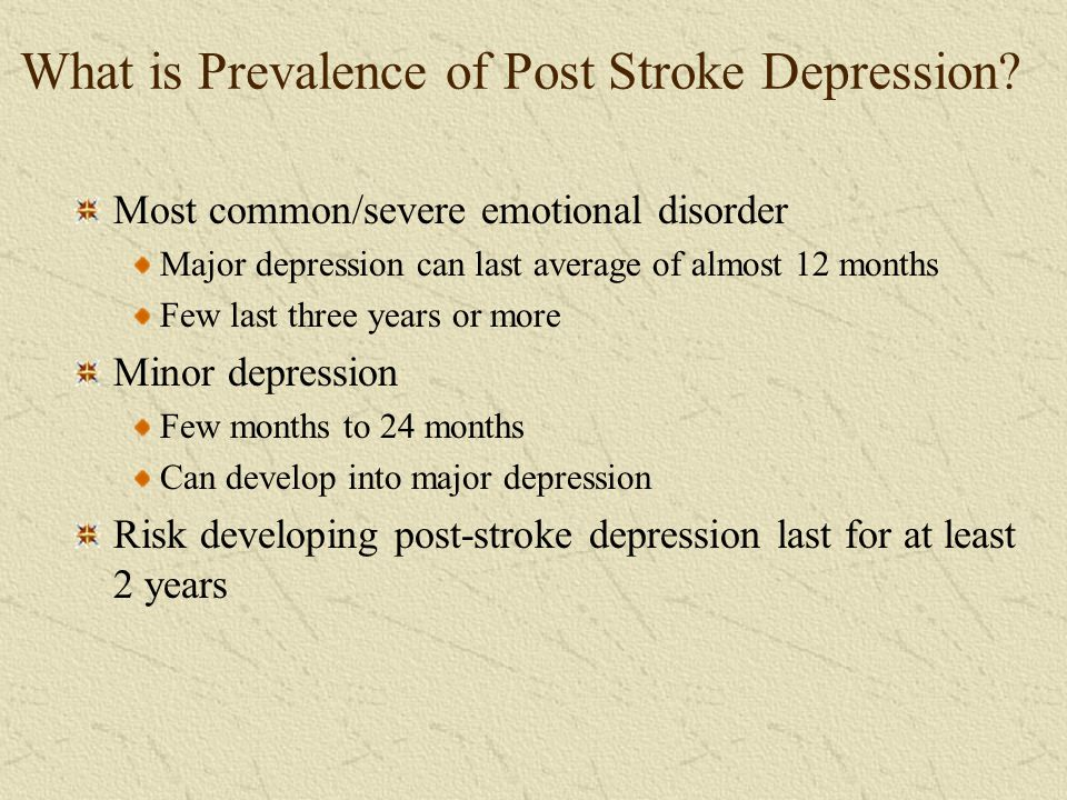 What is Prevalence of Post Stroke Depression