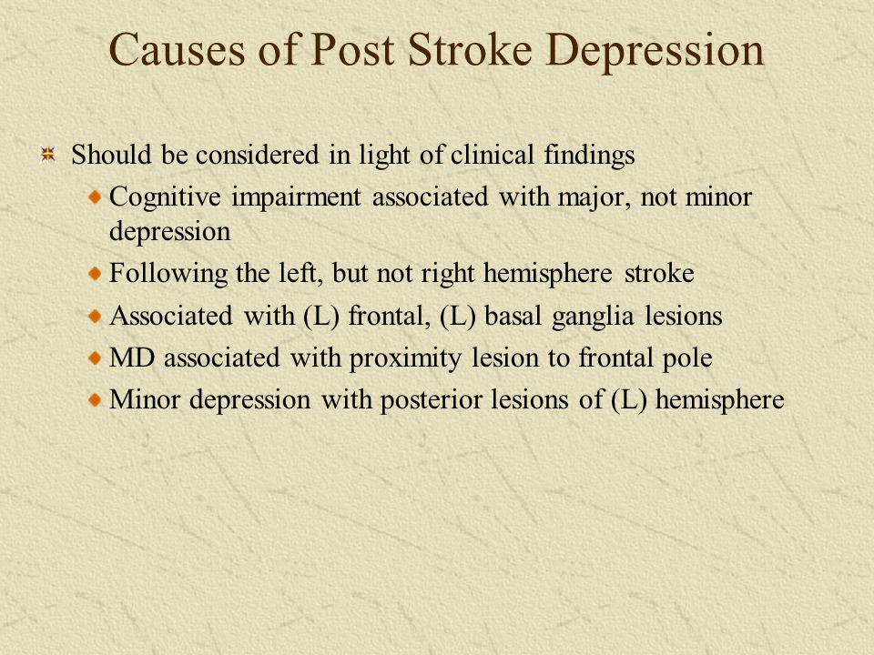 Causes of Post Stroke Depression