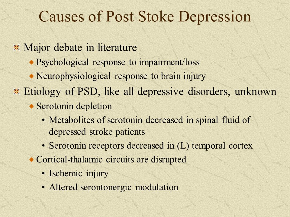 Causes of Post Stoke Depression