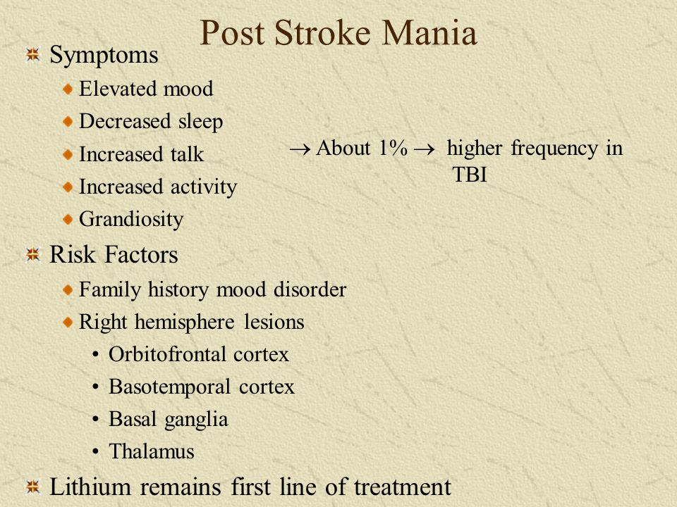Post Stroke Mania Symptoms Risk Factors