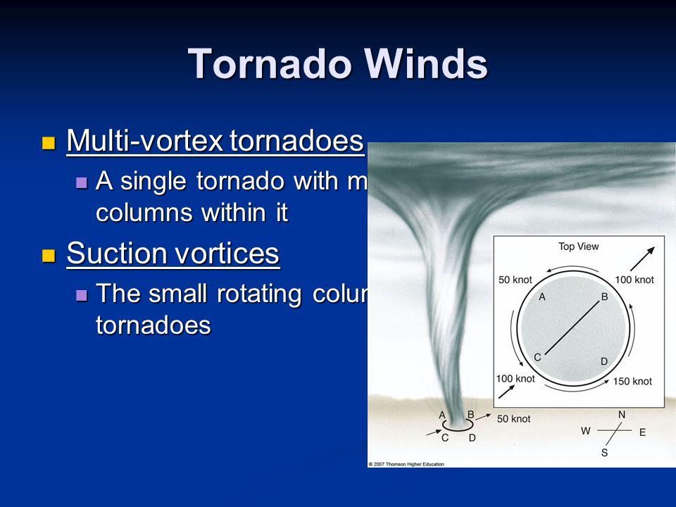 Tornado Winds Multi-vortex tornadoes Suction vortices