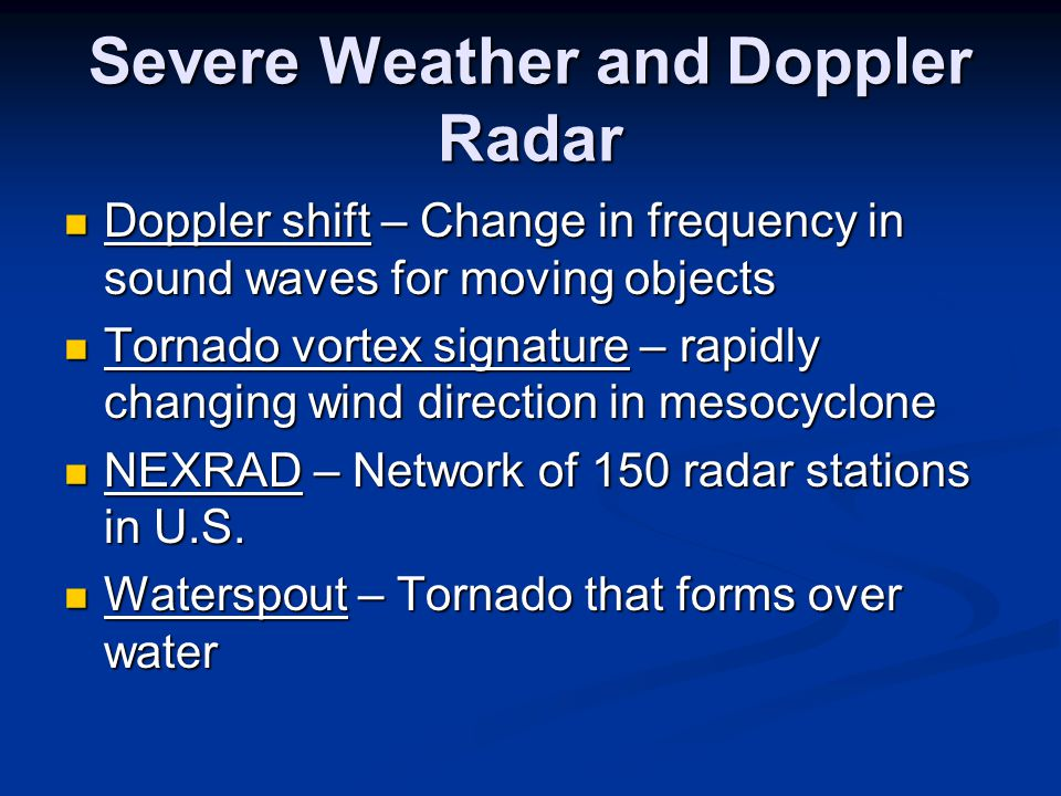 Severe Weather and Doppler Radar