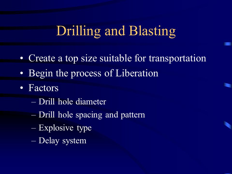 Drilling and Blasting Create a top size suitable for transportation