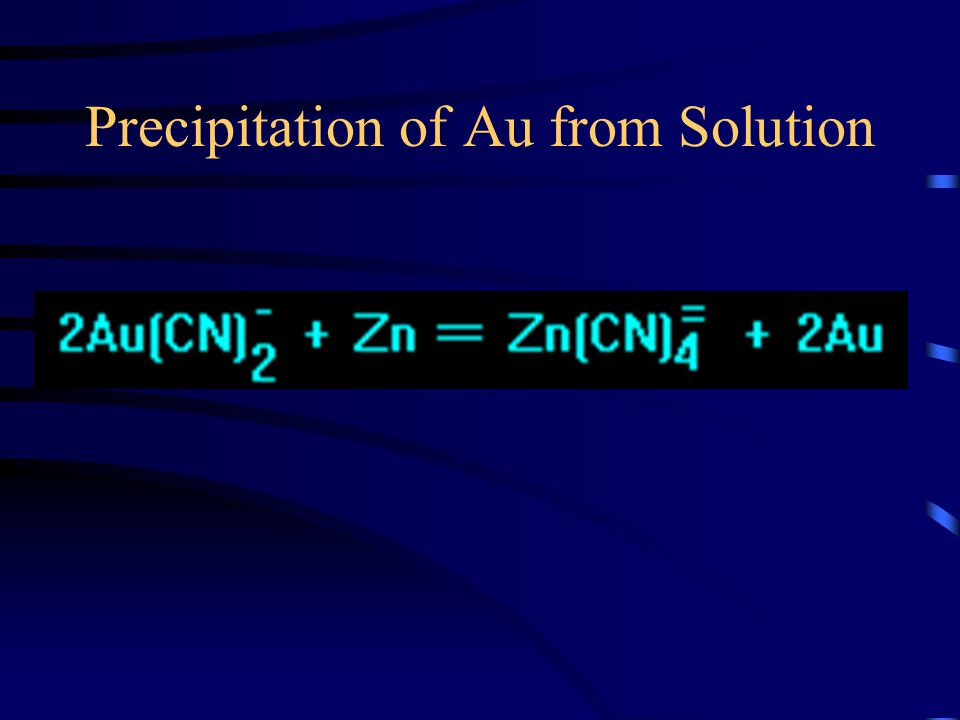Precipitation of Au from Solution