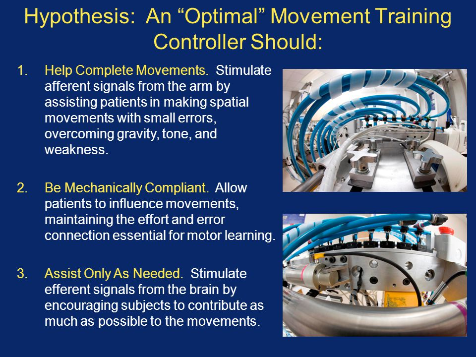 Hypothesis: An Optimal Movement Training Controller Should: