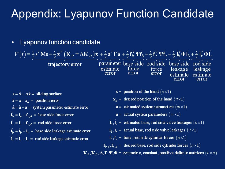 Appendix: Lyapunov Function Candidate