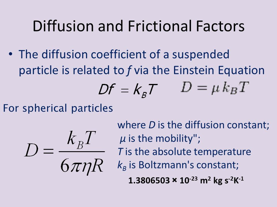 Diffusion and Frictional Factors