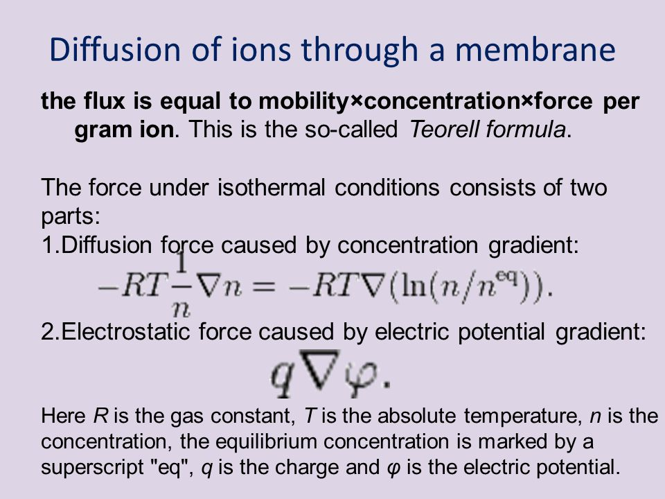 Diffusion of ions through a membrane