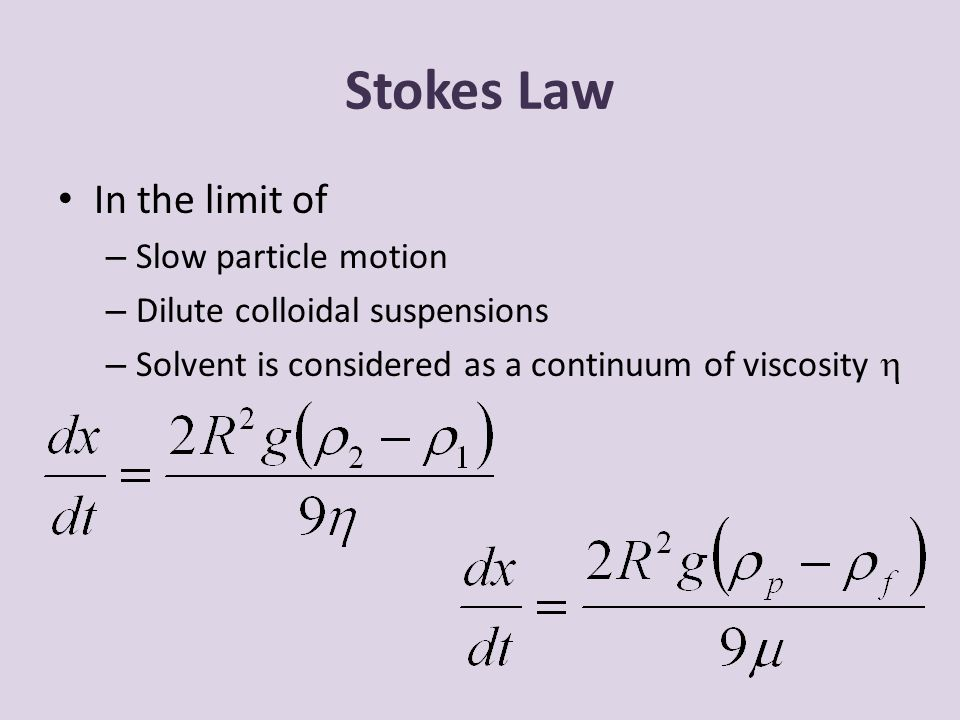 Stokes Law In the limit of Slow particle motion