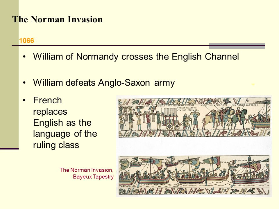 The Norman Invasion William of Normandy crosses the English Channel