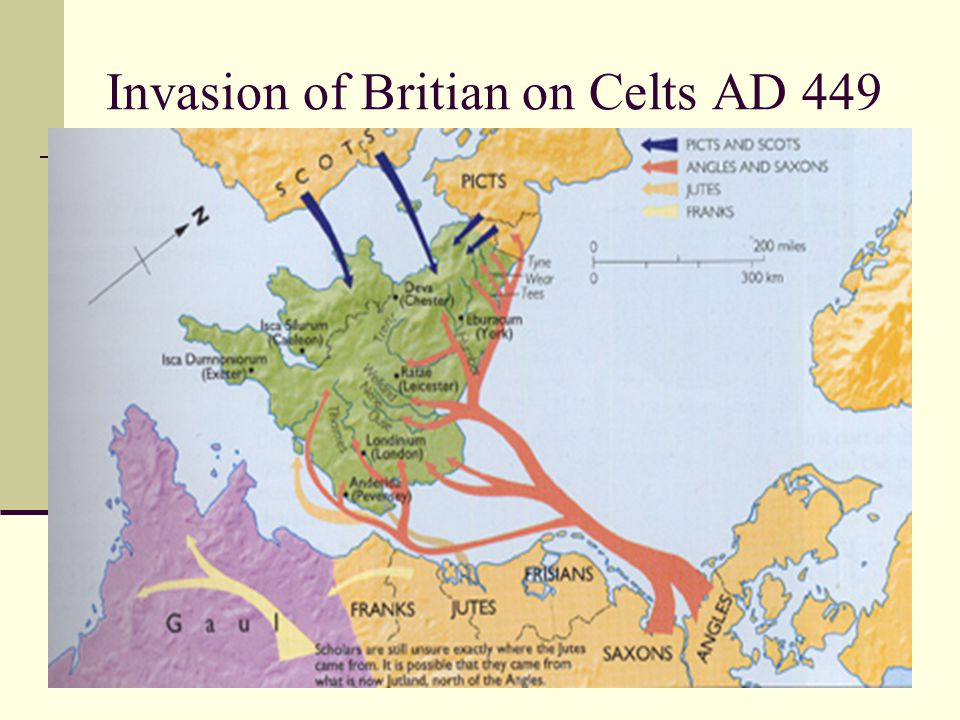 Invasion of Britian on Celts AD 449