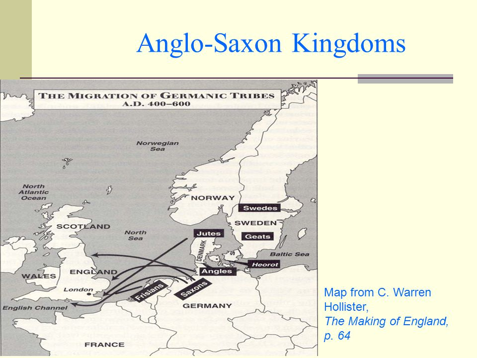 Anglo-Saxon Kingdoms Map from C. Warren Hollister,