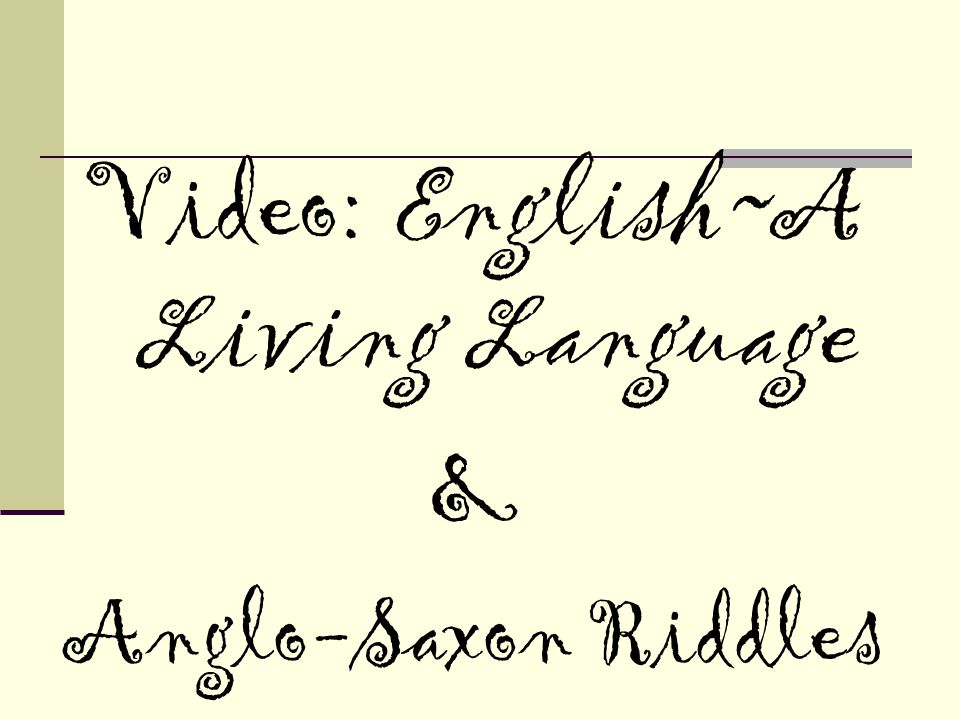 Video: English~A Living Language