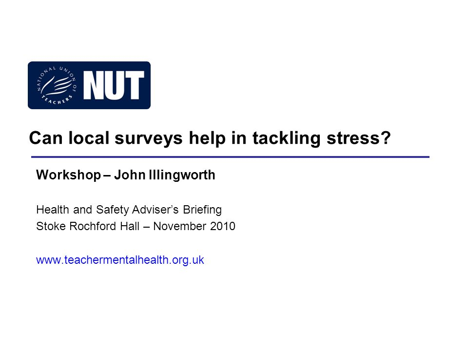 Can local surveys help in tackling stress