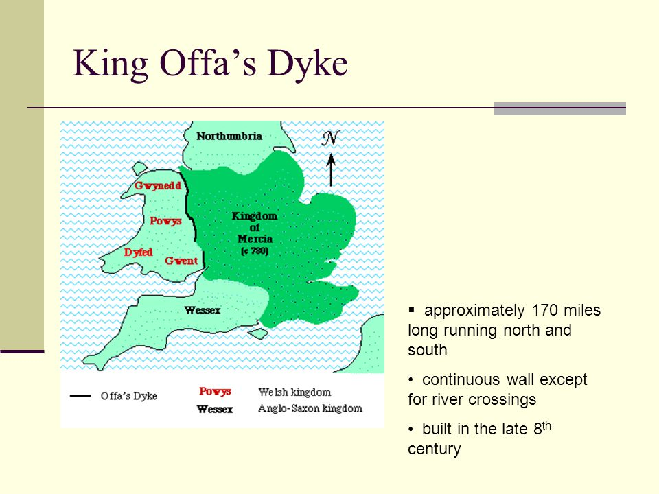 King Offa's Dyke approximately 170 miles long running north and south