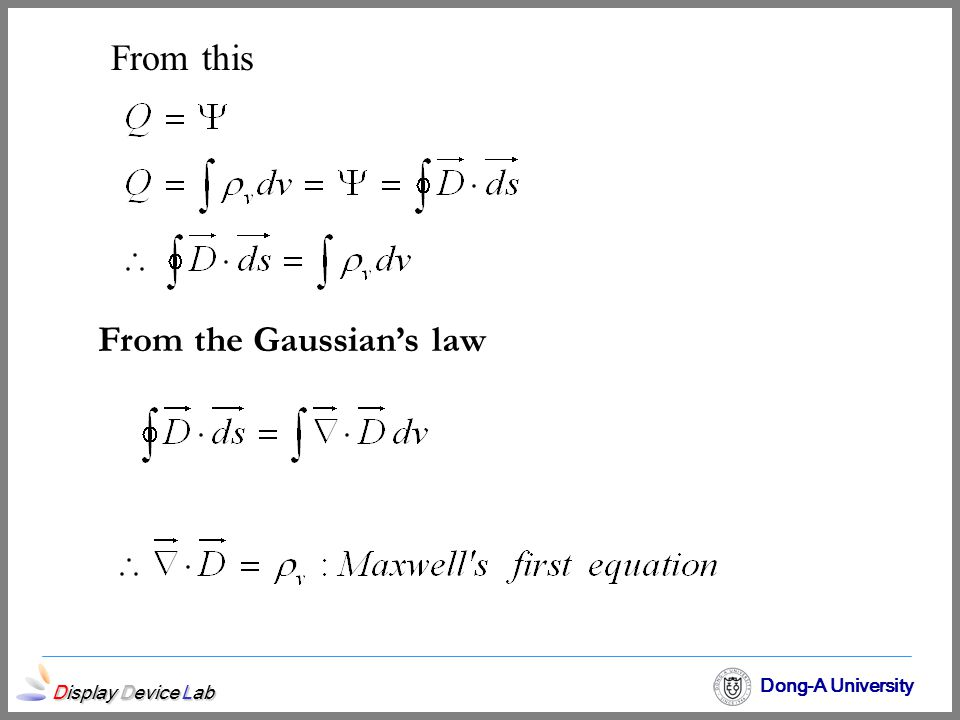 From the Gaussian's law