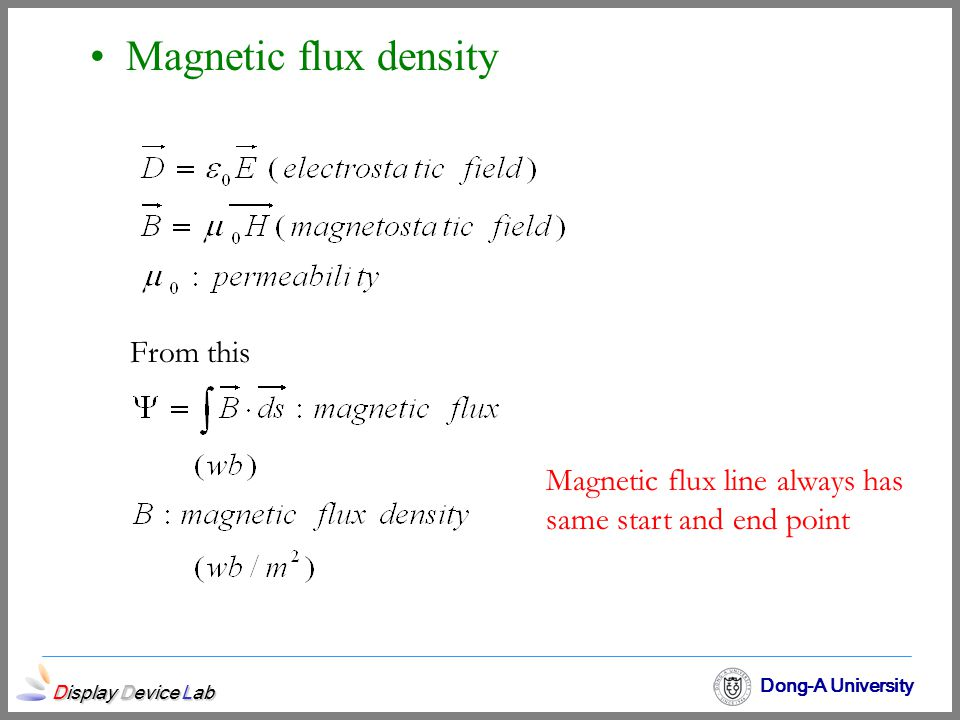 Magnetic flux density From this Magnetic flux line always has