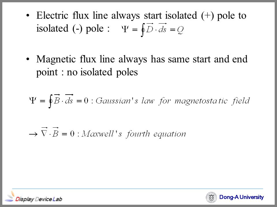 Electric flux line always start isolated (+) pole to isolated (-) pole :