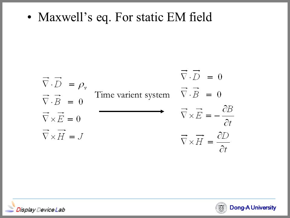 Maxwell's eq. For static EM field