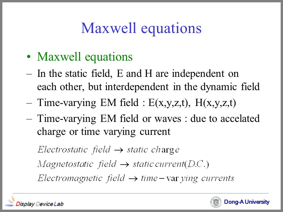 Maxwell equations Maxwell equations